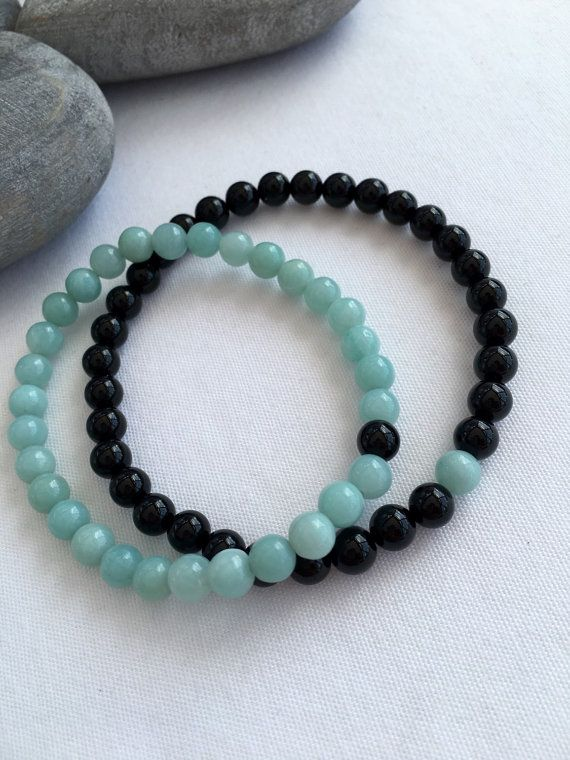 Amazonite and Black Onyx couples bracelets, You complete Me, matching bracelet set, his and hers bracelets, anniversary gift, mens onyx