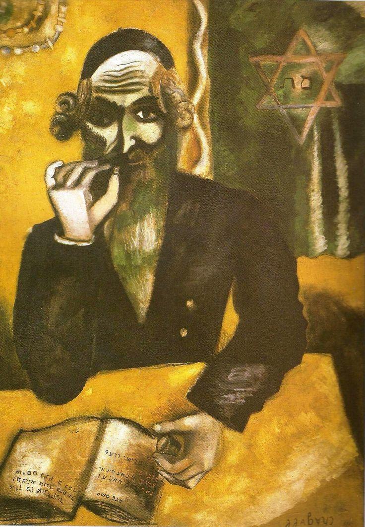 """Chagall, Pintor De Sonhos... """"A Pitada"""",1912: Na imagem, a invocação do seu pais; na figura majestosa do judeu, em segundo plano, nas filactérias e na estrela de Davi, no livro com os sinais gráficos hebraicos.. O nome 'Segal Moshe' encontra-se codificado no livro em caracteres hebraicos, o nome do artista na sua terra natal, e que ele internacionalizara ainda na Rússia para 'Marc Chagall',devido a uma melhor concisão. Sem dúvida, um documento de saudade pela sua Vitebsk."""