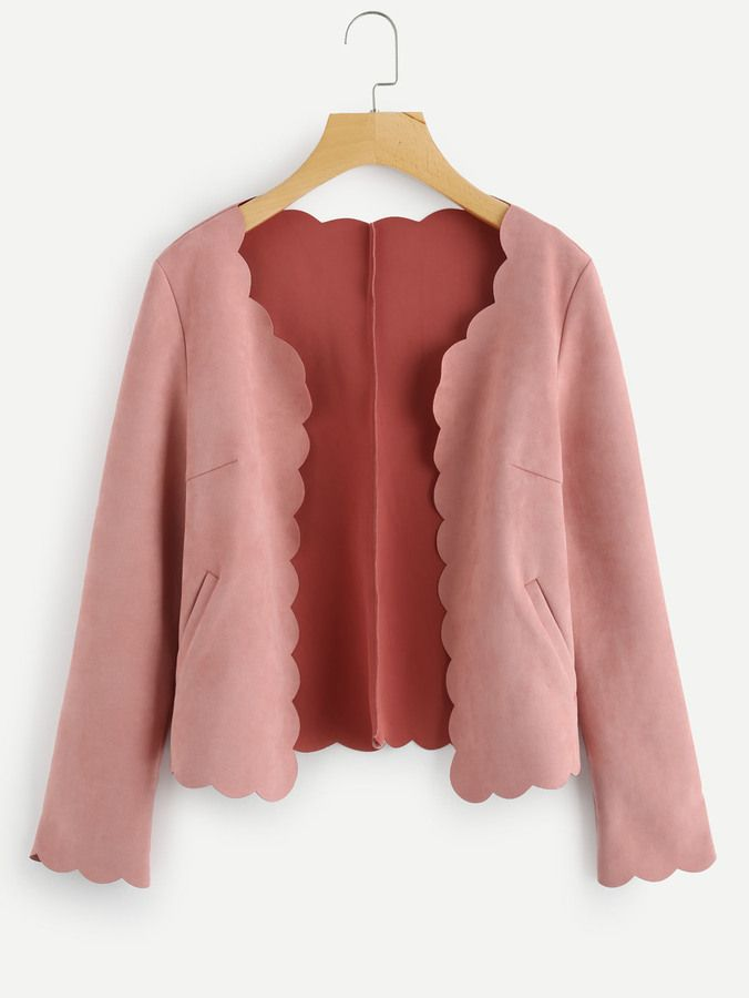 Shein Scallop Trim Open Front Suede Jacket