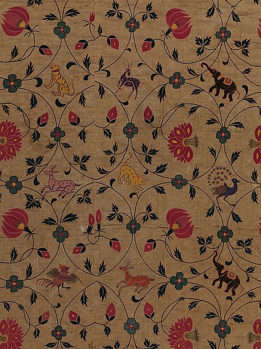 During the 16th and 17th centuries, Gujarat, India, supplied embroideries of the highest quality to the Mughal court. As European traders began to arrive in India, production from adjusted to satisfy the tastes of markets abroad, particularly in Portugal and England. To create wares that would be popular overseas, embroiderers worked from existing European textiles. The combination of a spiraling vine pattern and playful animals has its source in English embroideries.