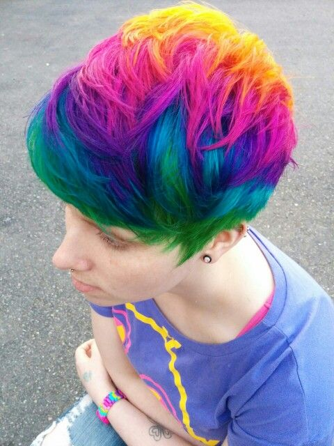Short rainbow hair, I want this !!!!!    Mom if you see this, I'm gonna get it :D :P