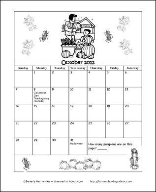 Printable Coloring Calendar 2012/13 School Year: October 2012 Coloring Calendar
