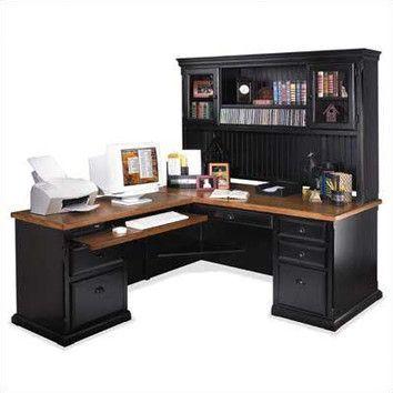 Southampton Onyx LShape Executive Desk with Hutch