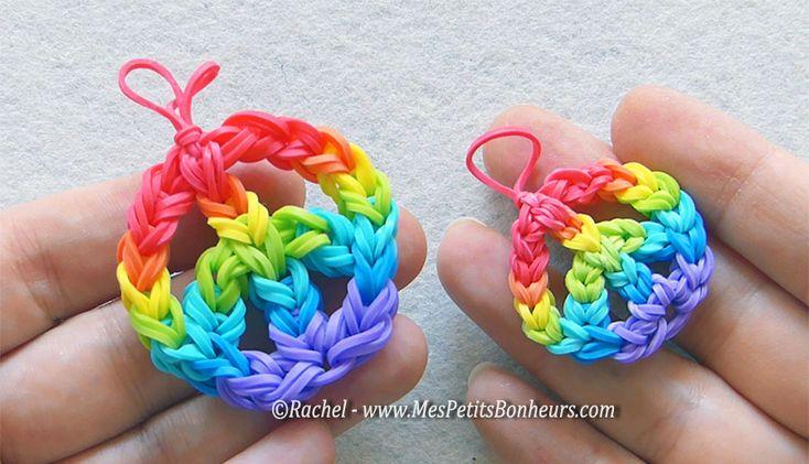 Peace and Love Rainbow Loom élastiques : TUTO en photos et vidéo de RACHEL: http://www.mespetitsbonheurs.com/peace-and-love-un-symbole-en-elastiques-tutoriels-photos-et-video/