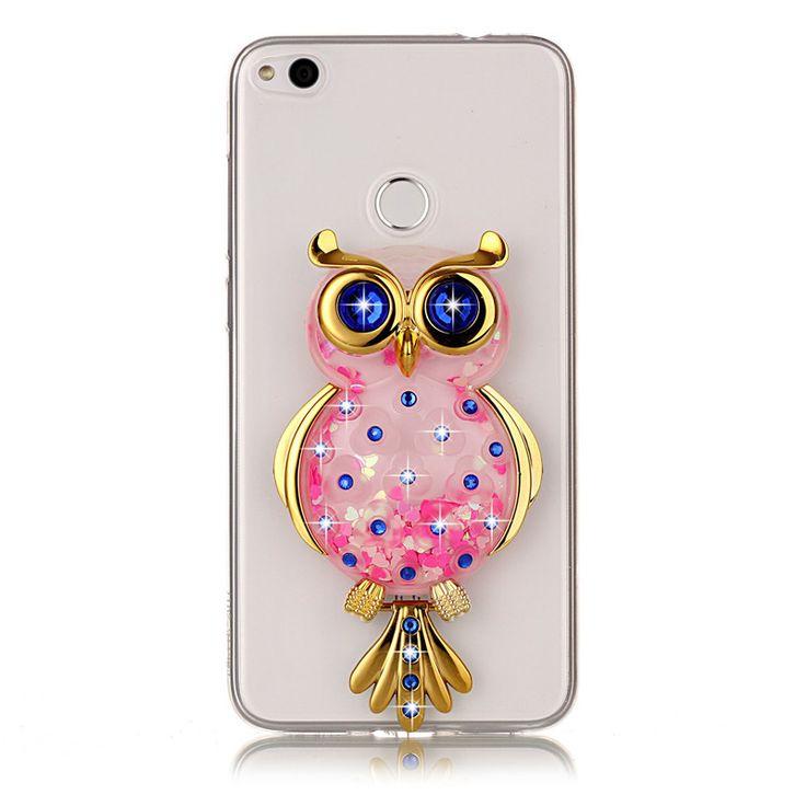 Unicorn Glitter Liquid Case sFor Coque Huawei P8 Lite 2017 Cover Dynamic Cute Cartoon OWL Phone. Click visit to buy #RhinestoneCase #rhinestone #case