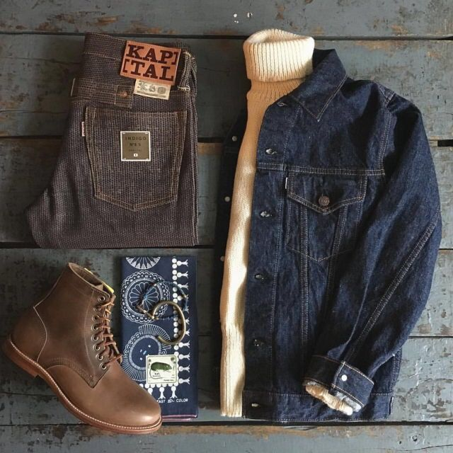Outfit grid - Denim jacket & boots