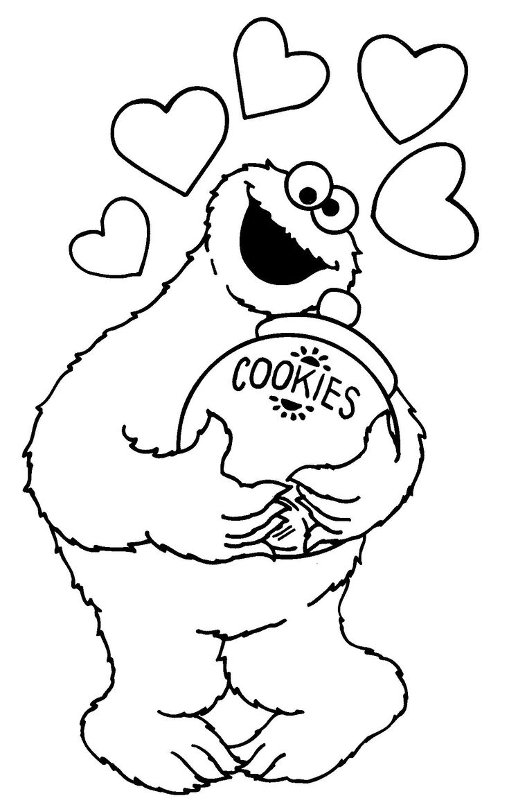 Free coloring pages elmo - Cookie Monster Cookie Jar Coloring Pages