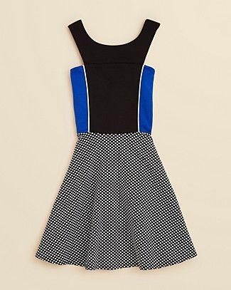 Sally Miller Girls' Color Block Dot Dress - Sizes S-XL   Bloomingdale's