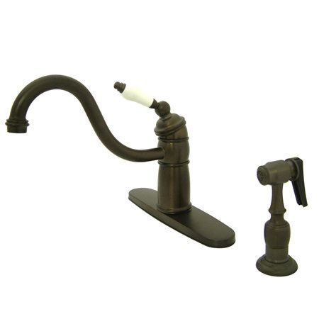 View the Kingston Brass KB157.PLBS Victorian Kitchen Faucet with Deck Plate, Porcelain Lever Handle and Brass Side Spray at FaucetDirect.com.