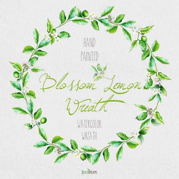 Blossom Lemon Wreath Watercolor. Hand painting от ReachDreams