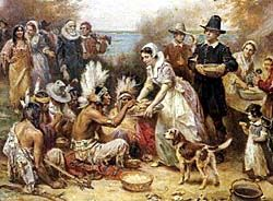 Pilgrims' Thanksgiving:Our harvest being gotten in,Our Governor sent 4 men on fowling so that we might,after a special manner,rejoice together after we had gathered the fruit of our labors.They 4 in one day killed as much fowl as served the company a week.Many of the Indians amongst us  King,Massasoit & some ninety men,whom for 3days we entertained,feasted went out, killed 5deer,which they brought.It wasn't always so plentiful.Yet By The Goodness of God we are far from want12.13.1621
