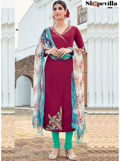 Masterly Cotton Satin Magenta Embroidered Work Designer Suit-6515