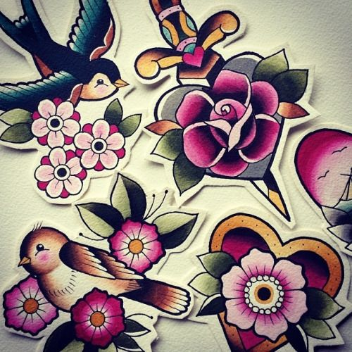 neo traditional flower tattoos - Google zoeken