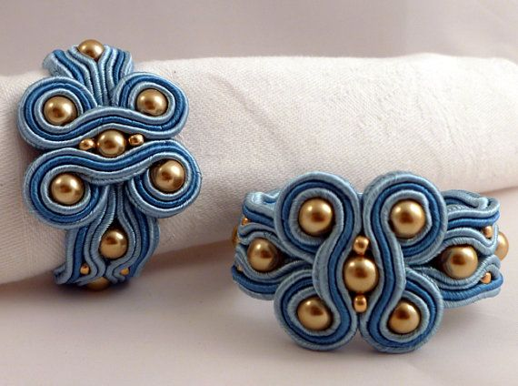 Napkin Rings a pair. Blue and gold in soutache by MollyGDesigns
