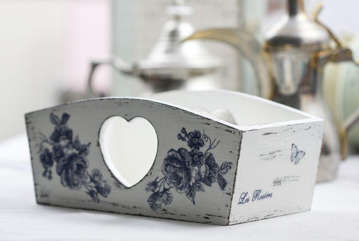 Blue rose wooden box, £12.00