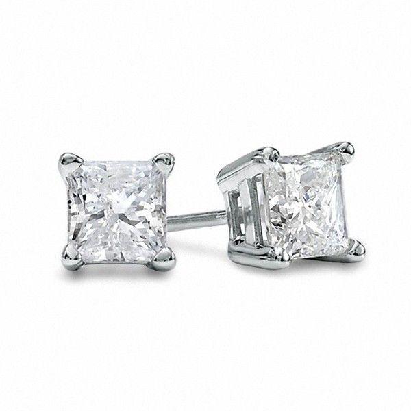 1 CT. T.W. Princess-Cut Diamond Solitaire Stud Earrings in 14K White... (5,730 PEN) ❤ liked on Polyvore featuring jewelry, earrings, 14 karat white gold earrings, screw back earrings, diamond earrings, 14k white gold earrings and earring jewelry
