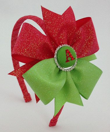 This Red & Lime Christmas Glitter Initial Pinwheel Headband is perfect! #zulilyfinds