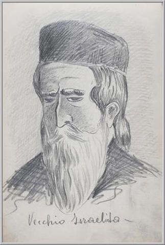 Mario Tozzi 1912: Vecchio Israelita. Disegno matita e inchiostro - cm.11x17 - Collezione eredi Brunetti-Laderchi Bologna - Archivio numero 404.
