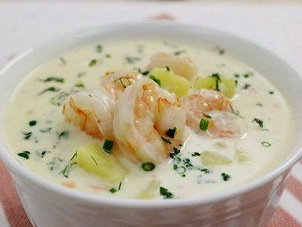 Cheese soup with prawns #recipes #cooking #food #cheese #soup #prawns