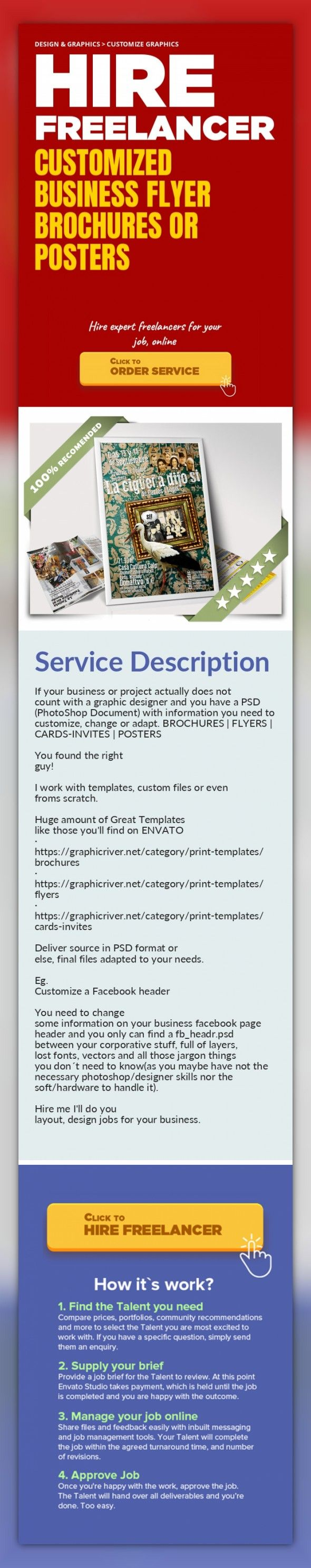Customized Business Flyer Brochures or Posters Design & Graphics, Customize Graphics   If your business or project actually does not count with a graphic designer and you have a PSD (PhotoShop Document) with information you need to customize, change or adapt. BROCHURES | FLYERS | CARDS-INVITES | POSTERS    You found the right guy!    I work with templates, custom files or even froms scratch.    Hu...