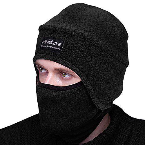 Winter Thermal Hats-Balaclava Fleece Hood-Windproof Ski Mask -KID Women&Men-Heavyweight Cold Weather Winter Motorcycle Ski & Snowboard Gear (Black L)