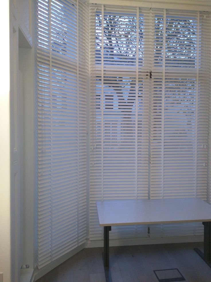 Chalk wood venetian blinds | Large bay window | 3.5m high | Primrose Hill