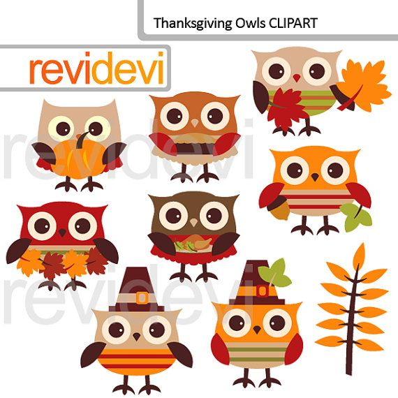 Clipart Thanksgiving Owls / Autumn Fall seasons owl by revidevi