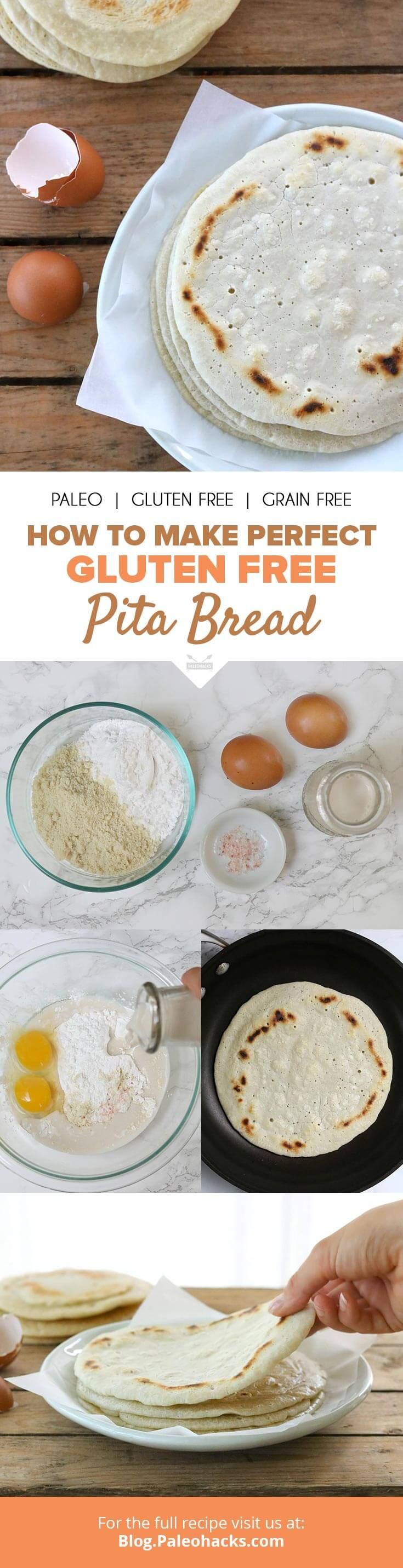 Warm, fluffy pita bread made with 5 gut-friendly ingredients. Get the recipe here: http://paleo.co/GFpitabread
