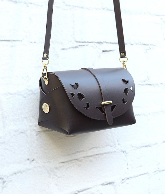 Brown Leather Cutout Barrel BagLarge Brown Bag Handmade