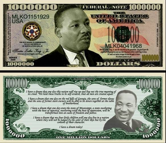Martin Luther King Million Dollar Bill