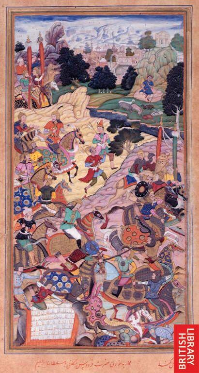 Battle of Panipat - Babur vs Ibrahim 1526. Painted by Kukund 1603-1604