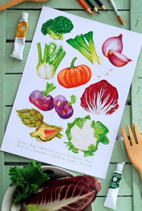 Vegetable Print   Food Illustration   Kitchen Art Print ...