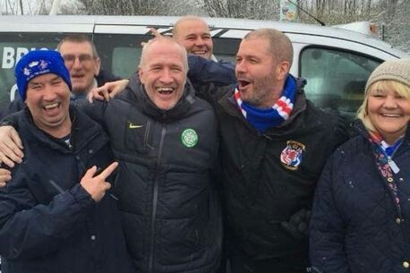 Taxi driver Chic Charnley comes to the rescue as a Rangers supporters bus breaks down on it's way to Ibrox. (2016)