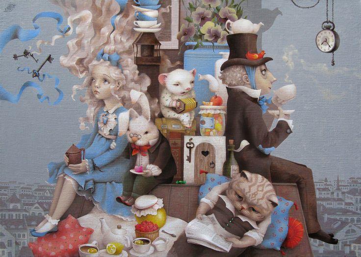 Сообщество иллюстраторов | Иллюстрация Таня Дешковец - Прощальное чаепитие. Живопись. Масло