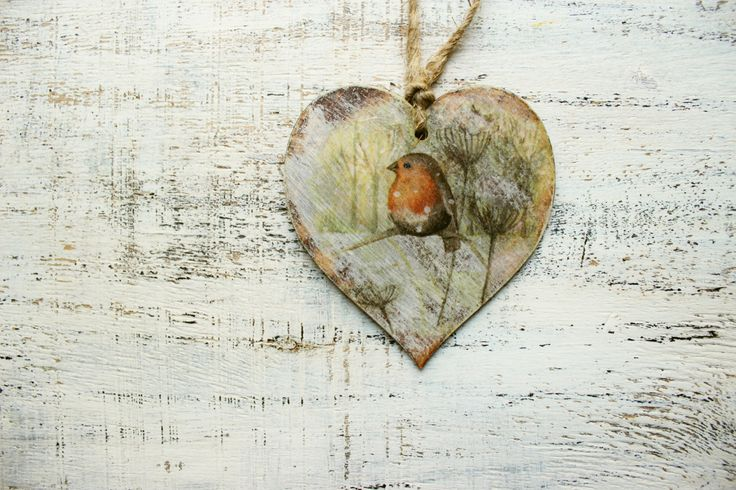 Rustic wooden heart Christmas ornament Christmas decoration cottage chic shabby chic red orange yellow off white brown billfinch by HandyHappyHearts on Etsy https://www.etsy.com/listing/207494168/rustic-wooden-heart-christmas-ornament