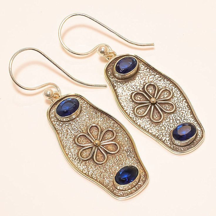 Madagascar Blue Sapphire Vintage Style 925 Sterling Silver Jewelry Earring 2.17