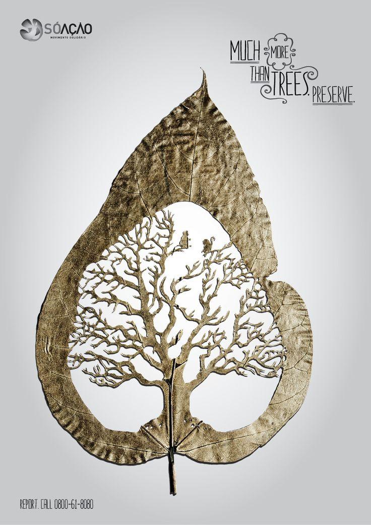 [아이디어 공익광고] 실제 나뭇잎에 조각을 한 환경 공익광고