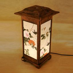 Paper Craft Table Lamp with Flower Painting on Mulberry Paper