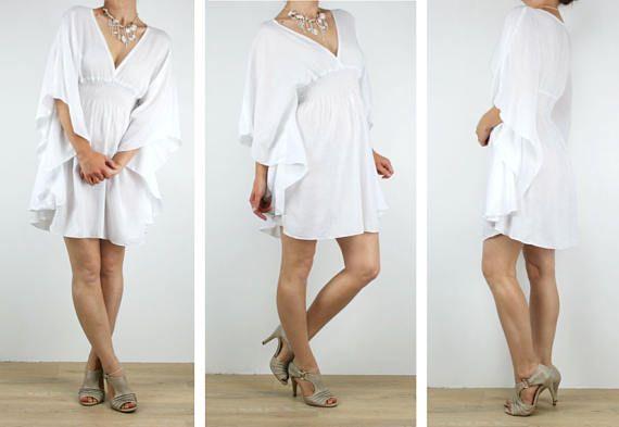 Women Kaftan dress ladies short beach dress white boho dress