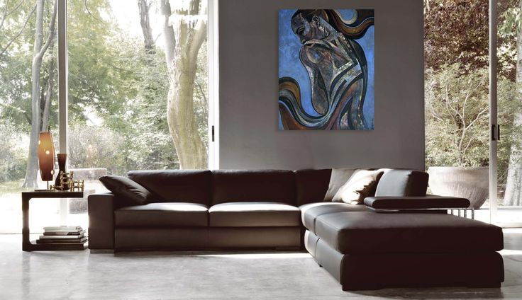 Simple and elegant interior and art -  comfortable and modern Italian sofa corner. Wnętrze i obraz, creative & unique. Contemporary painting of a woman - 'Sensual 5' by @anialuk_art