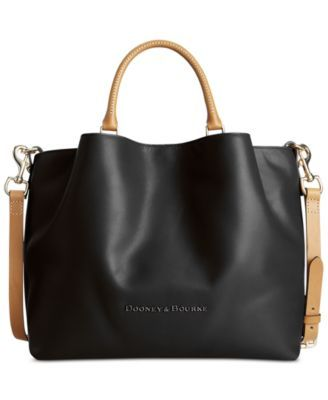 Dooney & Bourke Large Barlow Tote $368.00 Dooney & Bourke designed this slouchy two-tone tote with rich leather and plenty of space for storing your essentials while you're on the go. This must-have bag features both handles and a detachable shoulder strap for a choice of convenient carrying options.