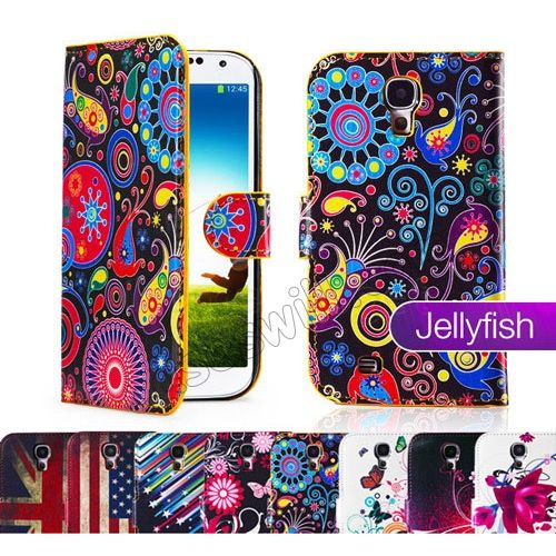 Jellyfish Pattern PU leather wallet case cover for Samsung Galaxy S4 SIV I9500