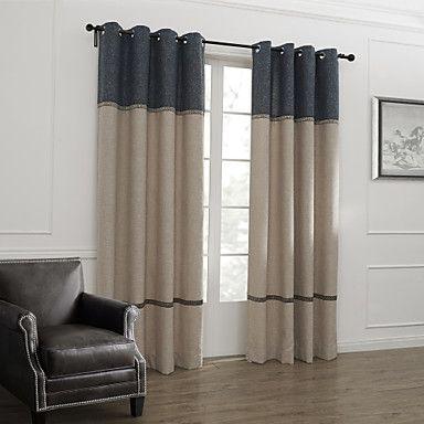 Two Panels) Classic Neoclassical Stripe Room Darkening Curtain