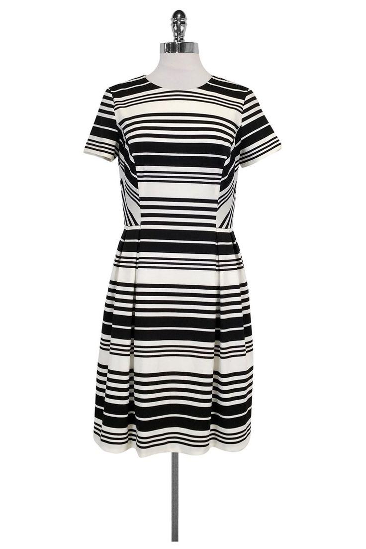 Shoshanna- Black & White Striped Dress Sz 10 | Current Boutique