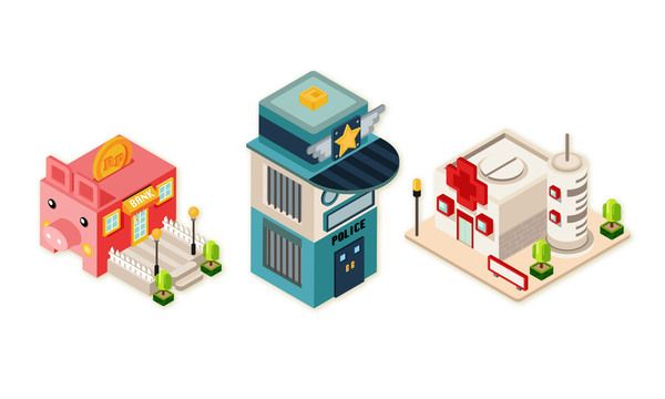 isometric town by Tommy Chandra, via Behance
