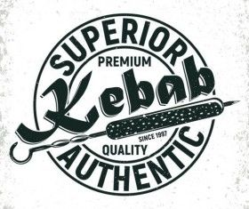 Retro barbecue labels with grunge background vector 06