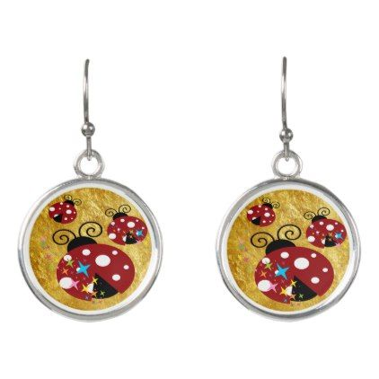 Three red and black ladybug with stars earrings - foil leaf gift idea special template