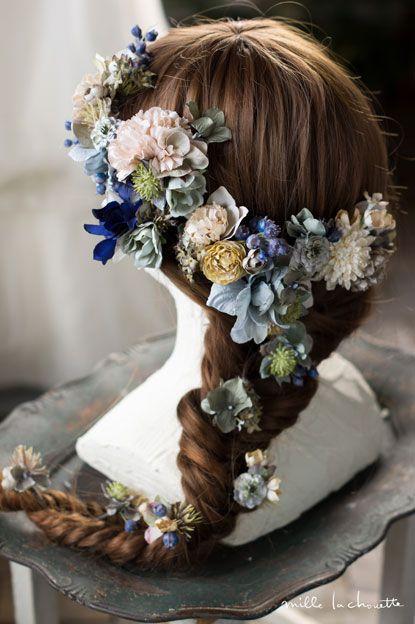 アンティーク シャビー ブルーグレー フラワーヘッドドレス head dress