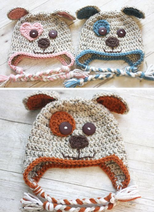 Crochet Puppy HatsThis crochet pattern / tutorial is available for free...  Full Post: Puppy Hat