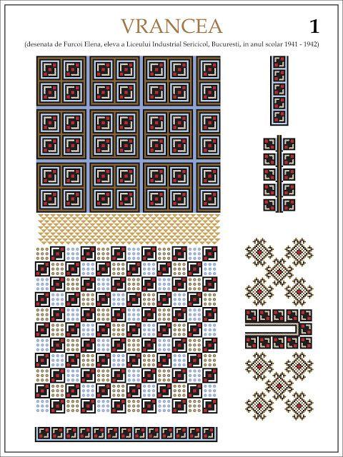Semne Cusute: ie din VRANCEA (1)  Modele de ii Romanesti din caietul elevei Furcoi Elena, de la Liceul Industrial Sericicol Bucuresti, care a desenat aceste planse in clasa a VIII-a, anul scolar 1941 - 1942